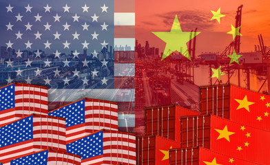 Concept image of  USA-China trade war, Economy conflict, US tariffs on exports to China, Trade frictions.