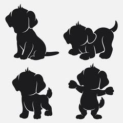 Set of dog silhouettes cartoon with different poses and expressions