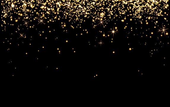 Drop gold champagne sparks, bright yellow particles Shine on black background, cheerful holiday, happiness, Christmas, new year