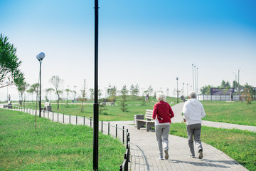 Rear  view portrait of active senior couple running together in park, copy space