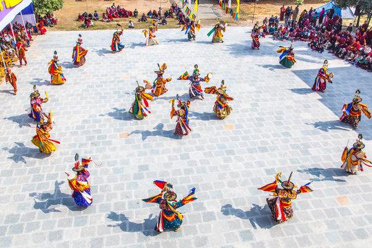インド、ブッダガヤ、ブータン寺、チベット仏教の仮面舞踊、チャム