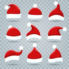 Santa hat. Christmas costume nicholas hats isolated on transparent background, vector santa wearing in cartoon style for kids
