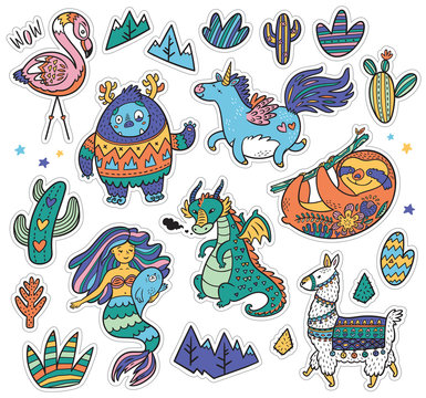 Creative set with Yeti, unicorn, dragon, mermaid, llama and sloth in cartoon style. Vector illustration