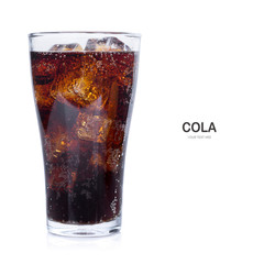 Cola with ice isolate on white background.