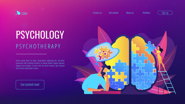 Man doing human brain puzzle. Psychology and psychotherapy landing page. Mental healing and wellbeing, therapist counselling, mental difficulties. Vector illustration on ultraviolet background.