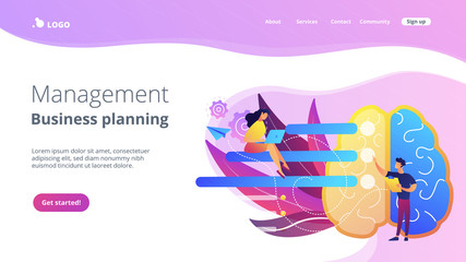 Brain with tasks and users with laptops planning. Management and business planning landing page. Analyzing, setting goals and project management, violet palette. Vector illustration on background.