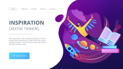 Open book, user flying in space among planets. Inspiration and creative thinking landing page. Imagination and vision, fantasy, motivation concept. Vector illustration on ultraviolet background.