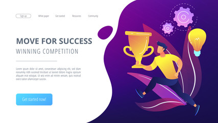 Bulb and user running with trophy cup. Move for success and winning competition landing page. Challenge and confidence, motivation and goals achievement. Vector illustration on ultraviolet background.
