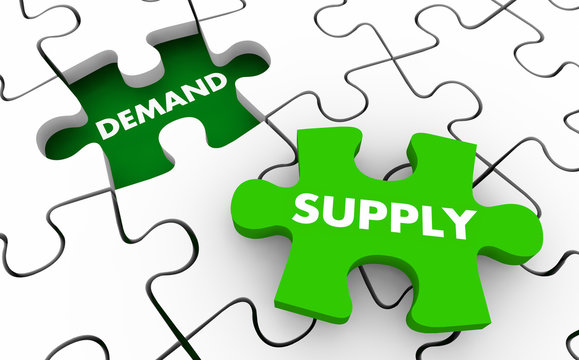 Supply and Demand Puzzle Pieces Market Forces 3d Illustration