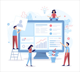 The team of web developers constructs a personal user account or admin panel for the website. Flat vector illustration.