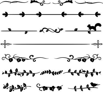 葉や蔦のラインイラストのセット