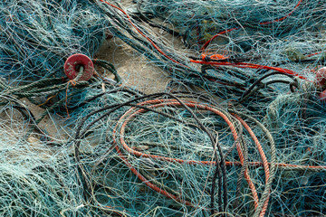 Old fishing net on the beach.