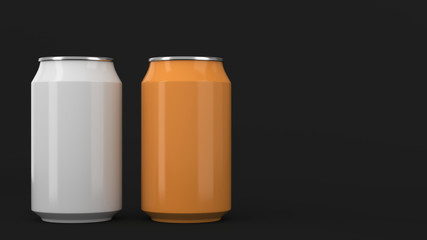 Two small white and orange aluminum soda cans mockup on black background