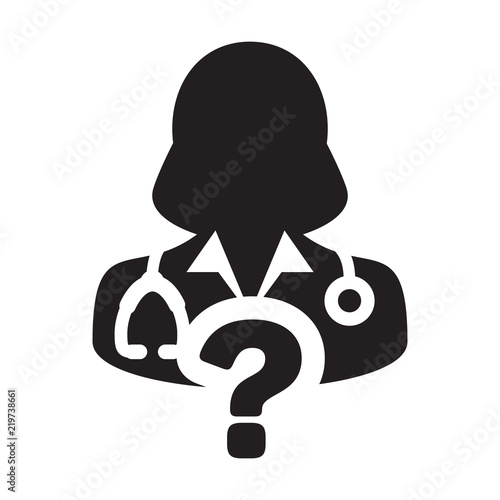 Health Icon Vector Doctor Female Person Profile Avatar With Question