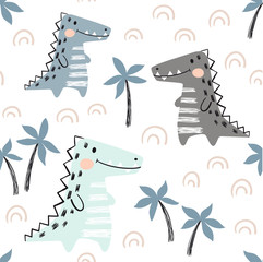 Crocodile baby seamless pattern. Dinosaur scandinavian cute print.