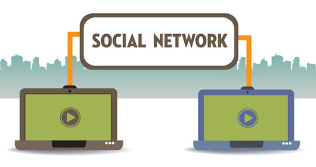 Two laptops connected through a social network. Social network concept