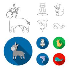 Donkey, owl, kangaroo, shark.Animal set collection icons in outline,flat style vector symbol stock illustration web.