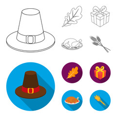 Hat of a pilgrim, oak leaf, gift in a box, fried turkey. Canada thanksgiving day set collection icons in outline,flat style vector symbol stock illustration web.