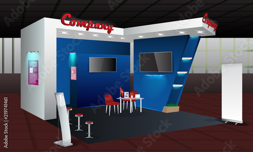 Exhibition Stall Xl : Exhibition stand display design with info board roll up. vector