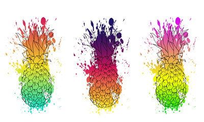 set of three of pineapple with watercolor texture