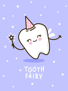 Cute tooth fairy on violet background