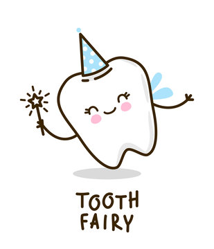 Cute tooth fairy on white background