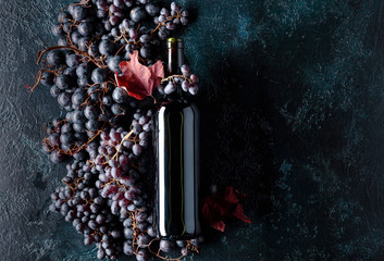 Bottle of red wine and grapes. Fototapete
