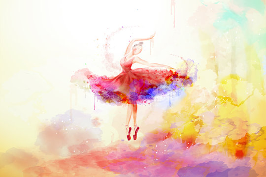 Elegant watercolor style ballerina