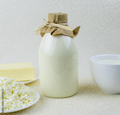 a set of dairy products milk cottage cheese butter on a light rh fotolia com light cottage cheese discharge light cottage cheese syns