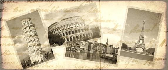 Vintage travel background with retro photos of european landmarks