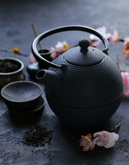 cast iron kettle for traditional oriental tea ceremony