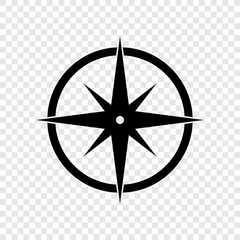 Compass icon on transparent background