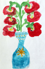 Children's drawing with bouquet of poppy flowers in vase