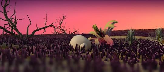 stone age prehistoric scenery 3d cartoon illustration