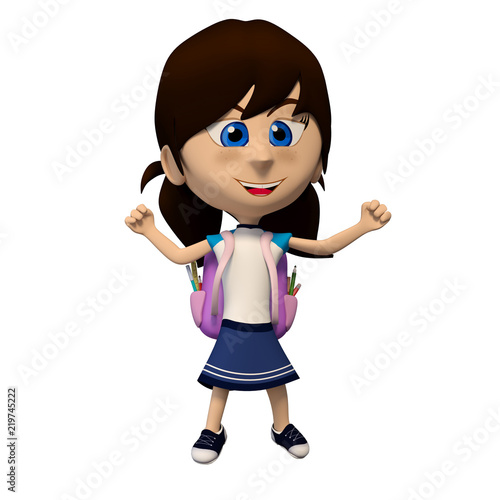 girl student with backpack celebrating 3d cartoon