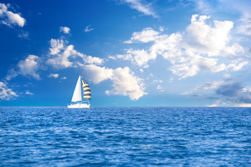 Sailing. Ship yachts with white sails in the open Sea. Concept sea travel, trip.