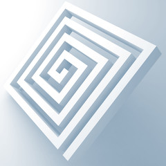 Abstract white square spiral maze object