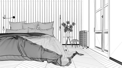 Wall Murals Illustration Paris Interior design project, black and white ink sketch, architecture blueprint showing scandinavian bedroom with double bed