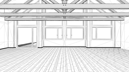 Interior design project, black and white ink sketch, architecture blueprint showing empty modern room with wooden roof