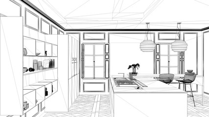 Interior design project, black and white ink sketch, architecture blueprint showing contemporary kitchen with island