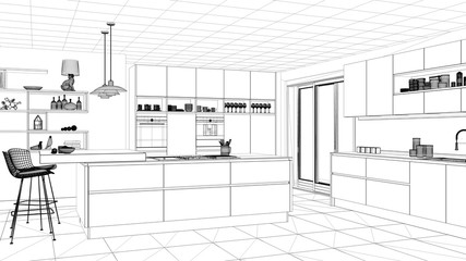 Interior design project, black and white ink sketch, architecture blueprint showing modern kitchen with island