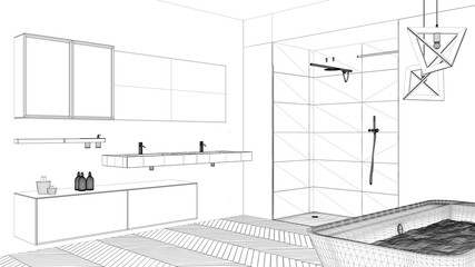 Interior design project, black and white ink sketch, architecture blueprint showing modern bathroom with bathtub and shower