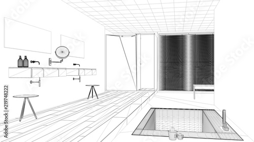 Interior Design Project Black And White Ink Sketch Architecture Blueprint Showing Modern Bathroom With