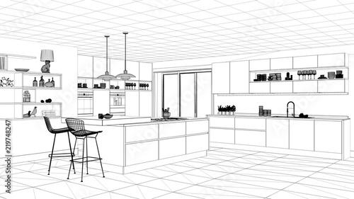 Interior Design Project Black And White Ink Sketch Architecture Simple Blueprint Interior Design