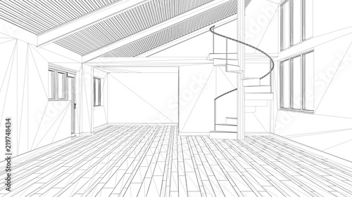 modern architecture blueprints architect interior design project black and white ink sketch architecture blueprint showing modern empty space