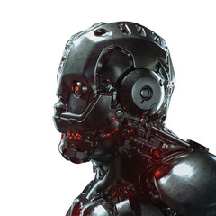 Head of cyborg with red luminous eyes. Science fiction helmet with a shiny dark metal. Robot with artificial intelligence. Artificial face. Futuristic soldier concept. 3D rendering on white background