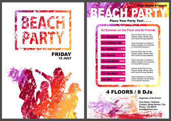 Beach Party Flyer Template - Colorful Dancing Group Silhouettes with Grunge Texture on White Background, Abstract Vector Illustration