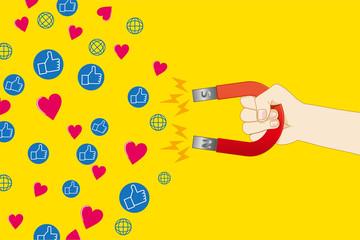 磁石を持つ手とソーシャルネットワークサービスのイメージのイラスト|マーケティング・ビジネスイメージ|Magnet illustration