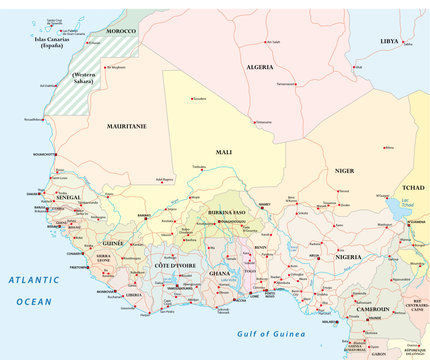 Detailed road map of the countries of West Africa with capital cities.
