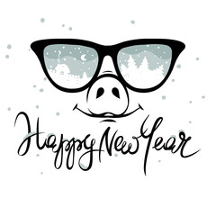 "Pig in the glasses in which winter is reflected / Funny christmas hand drawing calligraphy ""Happy New Year"""